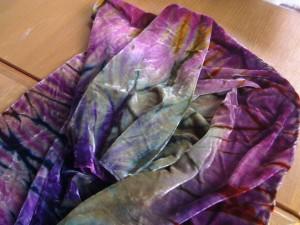 velvet shibori scarf dyed, discharged, overdyed
