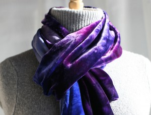 blue purple velvet scarf